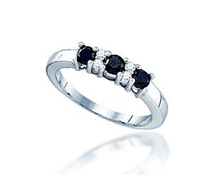 3 Stone Black Diamond  Accented Ring<br> 5/8 Carat Total Weight