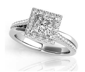 Diamond Slant Princess Cut Halo Ring