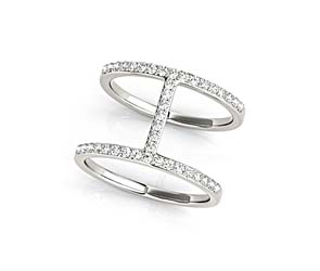 H Curve Diamond Ring