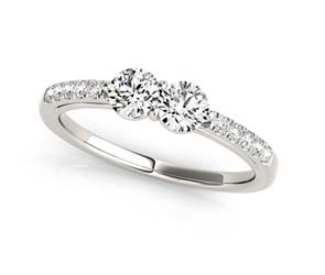 2 Stone Raised Diamond Ring