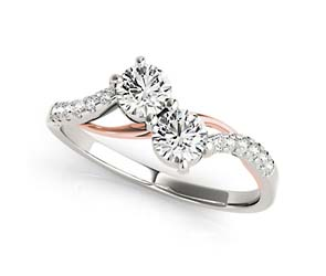 2 Stone Diamond Rose Accented Ring