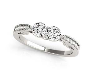 2 Stone Scripted Diamond Ring