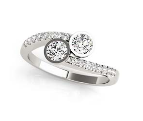 2 Stone Diamond Bezel Set Ring