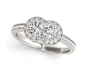 2 Stone Cluster Diamond Ring