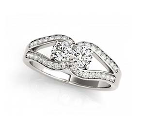 2 Stone Diamond Meetings Ring