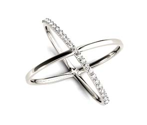 Half Diamond Criss Cross Ring