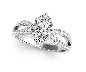 2 Stone Split Diamond Ring