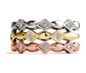 Contemporary Diamond Accented Stackable Ring