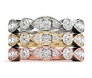 Center 3 Stone Stackable Diamond Ring