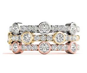 3 Stone Bezel Diamond Stackable Ring