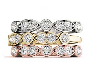 Alternating 2 Stone Stackable Diamond Ring