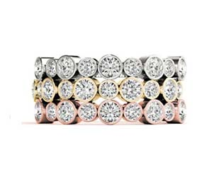 Alternating Diamond Bezel Stackable Ring