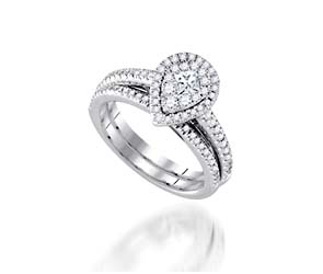 Pear-Shaped Halo-Style Wedding Ring