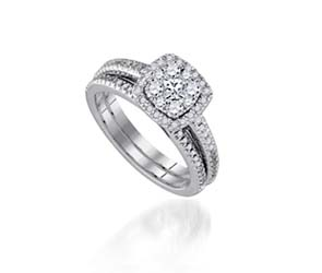 Diamond Cushion Illusion Wedding Set