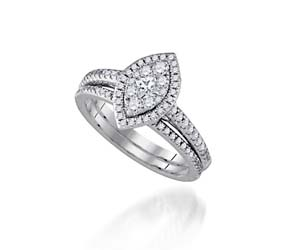 Marquee Look Halo-Style Diamond Bridal Ring
