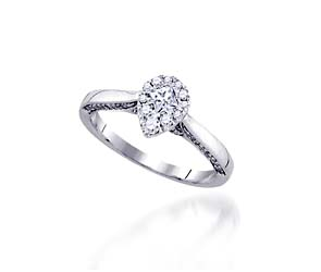 Diamond Pear Shape Cluster Engagement Ring