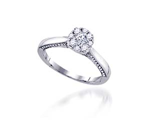 Diamond Floral Solitaire Ring