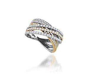 Ladies Two Tone Diamond Band