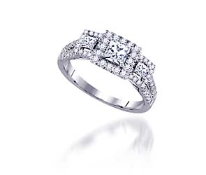 Diamond Princess Cut Halo Style Ring