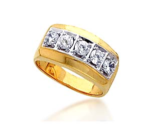 Men's 5 Stone Diamond Ring