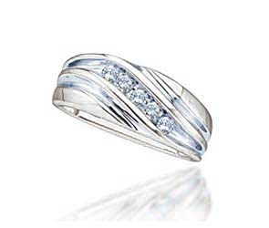 Diamond Fashion Mens Band<br> 1/4 Carat Total Weight