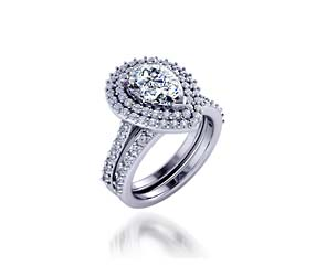 Ladies Double Halo Wedding/Anniversary Ring