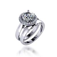 Ladies Diamond Halo Ring 1.18 Carat Total Weight