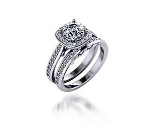 Classic Halo Style Diamond Engagement Set