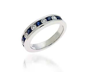 Blue Sapphire & Diamond Band