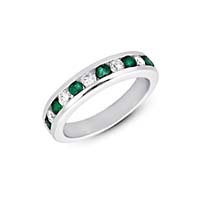 Emerald and Diamond Band 3/4 Carat Total Weight