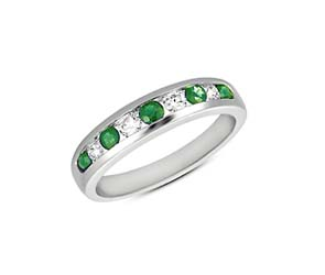 Emerald and Diamond Band 0.67 Carat Total Weight