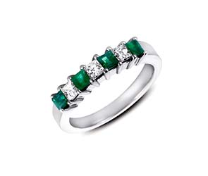 Genuine Emerald and Diamond Band