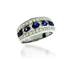 Sapphire & Diamond Band 1.5 Carat Total Weight