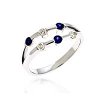 Sapphire & Diamond Ring 1/3 Carat Total Weight