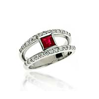 Genuine Ruby & Diamond Ring 1.45 Carat Total Weight