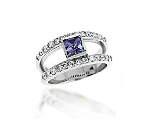 Genuine Tanzanite & Diamond Ring 1.3 Carat Total Weight