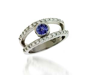 Genuine Tanzanite & Diamond Ring 1.06 Carat Total Weight
