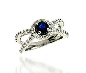 Genuine Sapphire and Diamond Ring