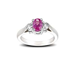 Genuine Pink Sapphire and Diamond Ring