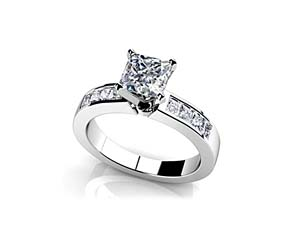 Channel Set Princess Cut Diamond Engagement Ring