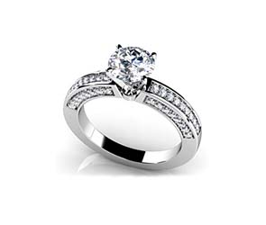 Vintage Look Side stone Engagement Ring