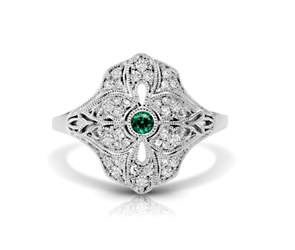 Vintage Emerald & Diamond Flower Ring