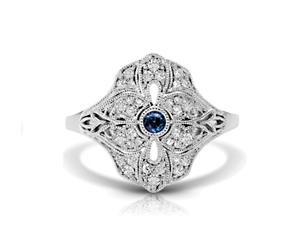 Vintage Blue Sapphire & Diamond Flower Ring