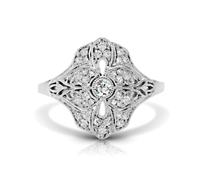 Vintage Diamond Flower Ring