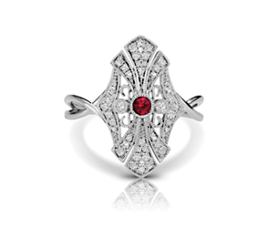 Ruby Cathedral Vintage Inspired Ring