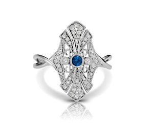 Blue Sapphire Cathedral Vintage Inspired Ring