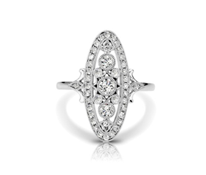 3 Stone Diamond Vintage Ring