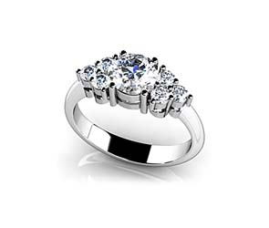 Round Center Channel Diamond Ring