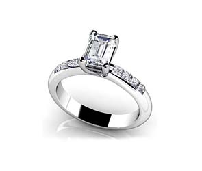 Emerald Cut Side Channel Ring