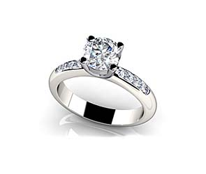 Raised Bridge Side Channel Engagement Ring